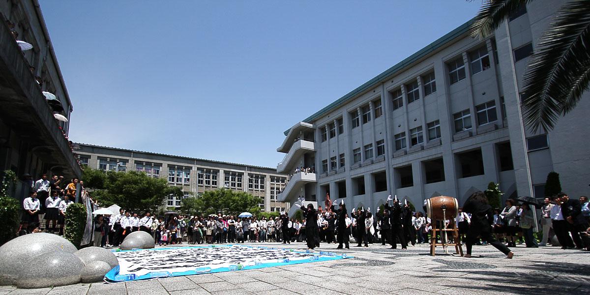 応援団による東日本大震災・被災地に向けてのエール